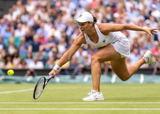 Favourite: Australia's Ashleigh Barty is favourite to win the ladies' singles in her maiden final when she takes on Karolina Pliskova at Wimbledon today. Picture: Simon Bruty/Getty