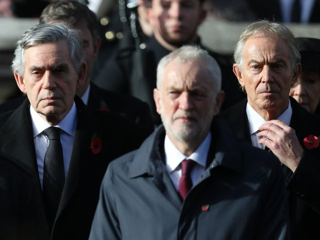 Gordon Brown, Jeremy Corbyn and Tony Blair during the remembrance service at the Cenotaph memorial in Whitehall in 2018. Picture: Andrew Matthews/PA Wire