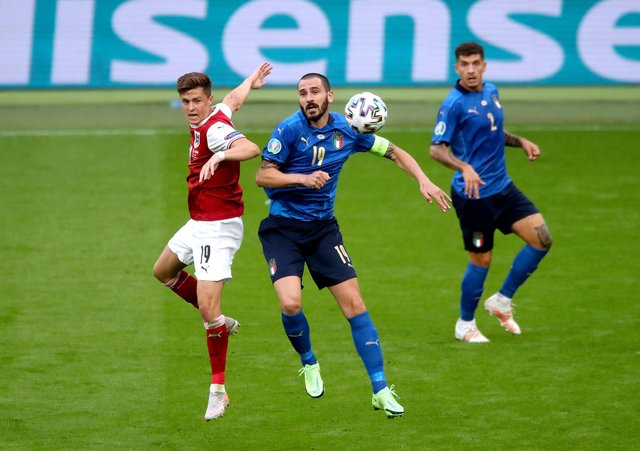 Italy's Leonardo Bonucci battles with Austria's Christoph Baumgartner during the UEFA Euro 2020 round of 16 match held at Wembley Picture: Nick Potts/PA