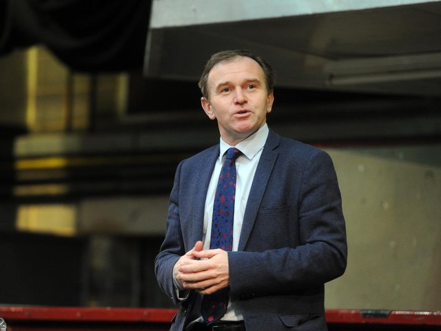 George Eustice speaks to farmers in Skipton in 2017. PIcture: Tony Johnson