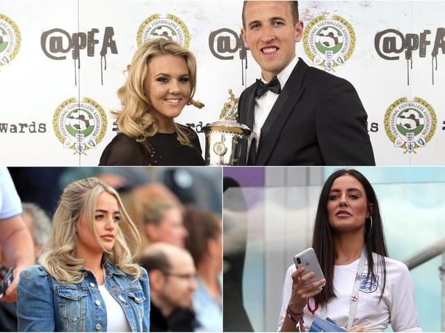 From top, Harry Kane and girlfriend Katie Goodland; Fern Hawkins, girlfriend of England's Harry Maguire and Megan Davison, girlfriend of England goalkeeper Jordan Pickford. PICS: PA