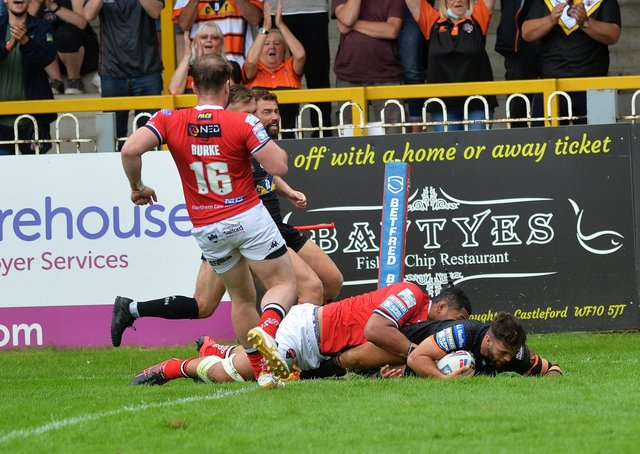 Well beaten: Castleford's Alex Foster scores his side's third try against Salford yesterday. Picture: Jonathan Gawthorpe
