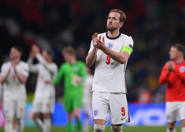 England's forward Harry Kane greets supporters after their loss in the UEFA EURO 2020 final (Picture: LAURENCE GRIFFITHS/POOL/AFP via Getty Images)