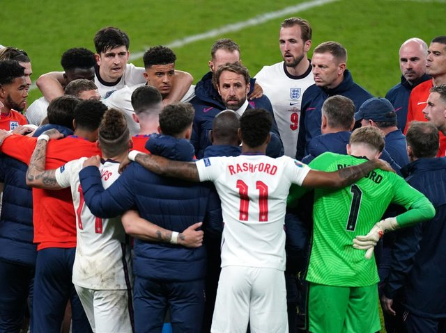 England manager Gareth Southgate selecting his players to take penalties ahead of the shootout during the UEFA Euro 2020 Final at Wembley Stadium. Picture: Mike Egerton/PA.