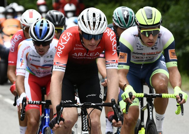 Yorkshire's Connor Swift, centre, competing in this year's Tour de France. Picture: Philippe LOPEZ/AFP