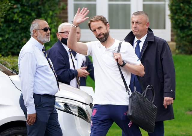 England manager Gareth Southgate leaves the team's Grove Hotel in Hertfordshire yesterday. Picture: Jonathan Brady/PA