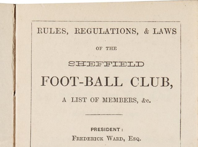 Rules, Regulations, and Laws of the Sheffield Foot-Ball Club was printed in 1859