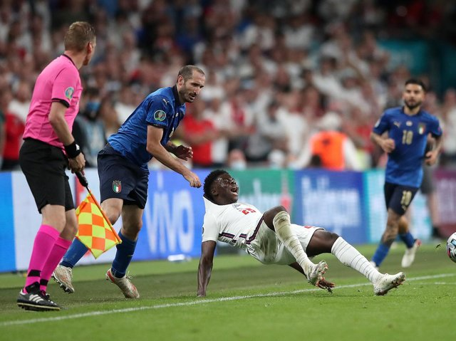 Italy captain Giorgio Chiellini was booked for his grab on Saka during the Euro 2020 final
