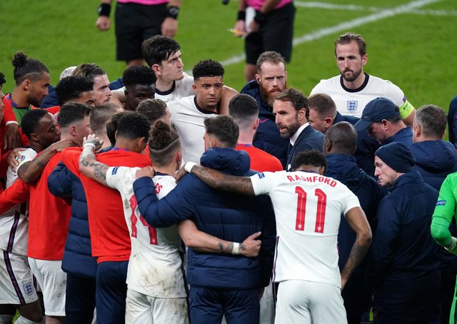 England manager Gareth Southgate with his England players. Picture: PA.