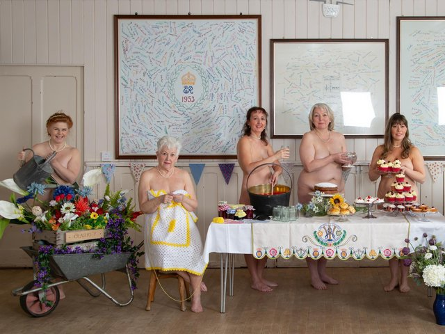 Pictured, from left to right: Jane Ellison-Bates, Jennifer Scott, Rachel Warren, Penny Hart-Woods, Samantha Harrison. The actresses and Grassington Players members are set to perform Gary Barlow and Tim Firth's uplifting musical The Calendar Girls: The Musical this autumn. Photo credit: Heidi Marfitt Photography