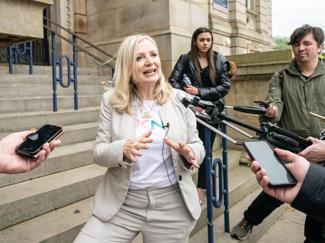 Mayor of West Yorkshire Tracy Brabin talks to members of the media outside Dewsbury Town Hall in Kirklees. Picture: Danny Lawson/PA