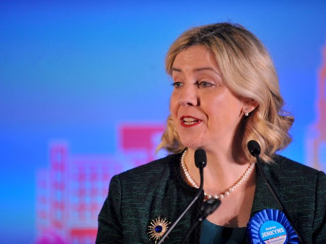 Andrea Jenkyns, pictured at the 2019 General Election count for Morley and Outwood