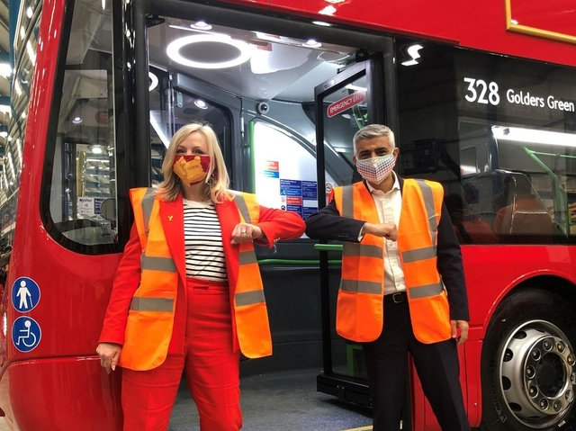 Mayor of London Sadiq Khan and the mayor of West Yorkshire Tracy Brabin during a visit Switch Mobility, an electric bus factory in Sherburn in Elmet, North Yorkshire, which provides buses to London (photo: Amy Murphy/PA Wire).