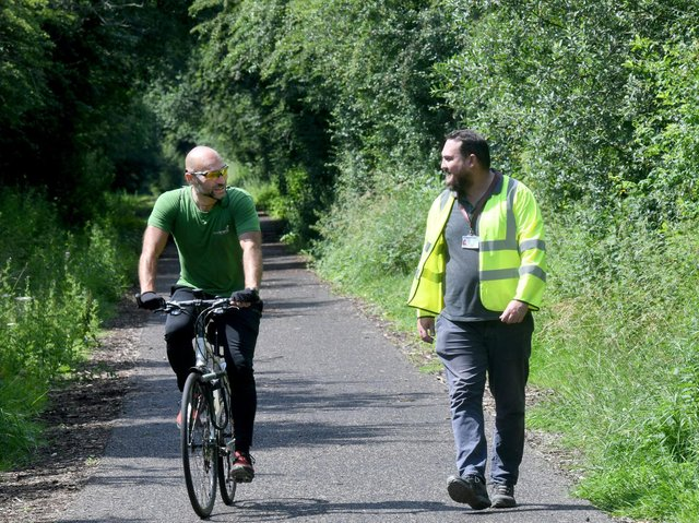 Lee Thompson, partnerships manager for Sustrans, with Damen Keddy, public rights of way officer at Barnsley Council on the Sustrans National Cycle Network near Worsbrough in Barnsley.
