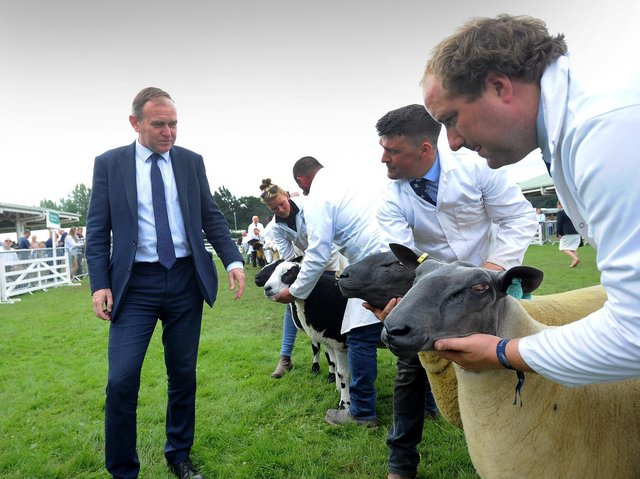 Environment Secretary George Eustice inspecting the sheep lines at the Great Yorkshire Show in Harrogate. (Picture: Simon Hulme)