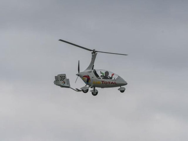A gyroplane flying in the Sunderland Air Show in 2017. This was not the aircraft which crashed.