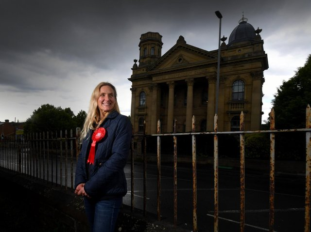 Kim Leadbeater pictured in Heckmondwike..24th May 2021. Picture by Simon Hulme