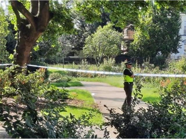 Police at the scene in Elmfield Park