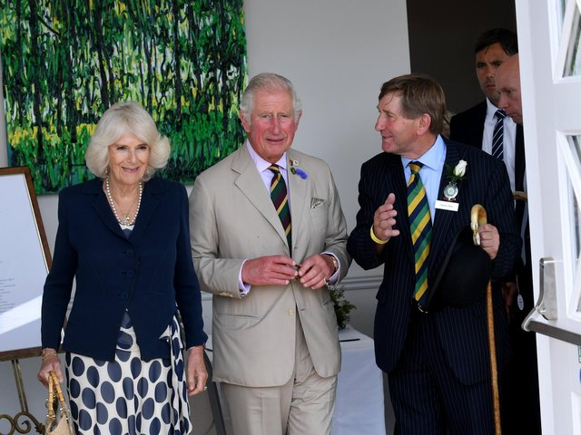 The Prince of Wales and the Duchess of Cornwall, with Show Director Charles Mills. Picture: Simon Hulme