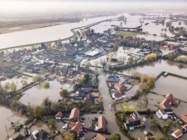 The village of Fishlake, Doncaster, submerged under flood water on November 9, 2019. Picture: Tom Maddick / SWNS.