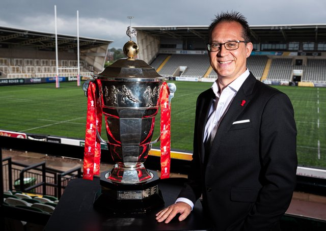 Jon Dutton (Chief Executive RLWC2021) pictured with the Rugby League World Cup trophy. Pictures: Alex Whitehead/SWpix.com