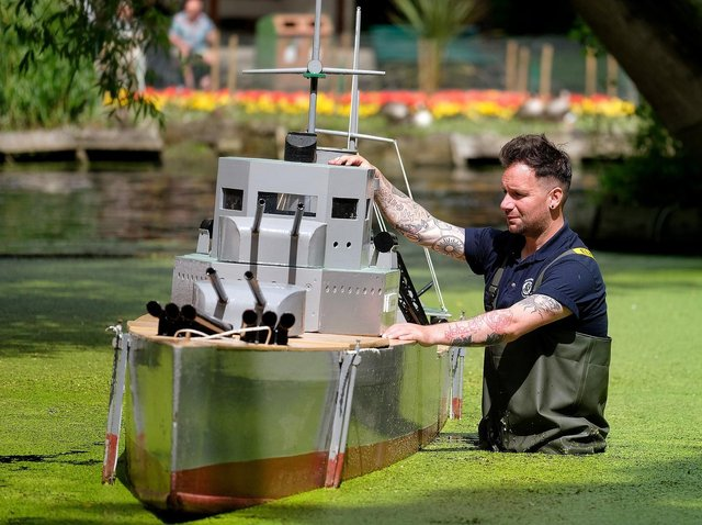 Damien Rhodes prepares one of the boats