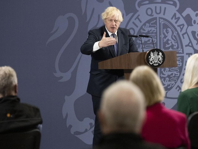 """Prime Minister Boris Johnson speaking during a visit to the UK Battery Industrialisation Centre in Coventry where he insisted his levelling up agenda is """"win win"""". Picture: David Rose/Daily Telegraph/PA Wire"""