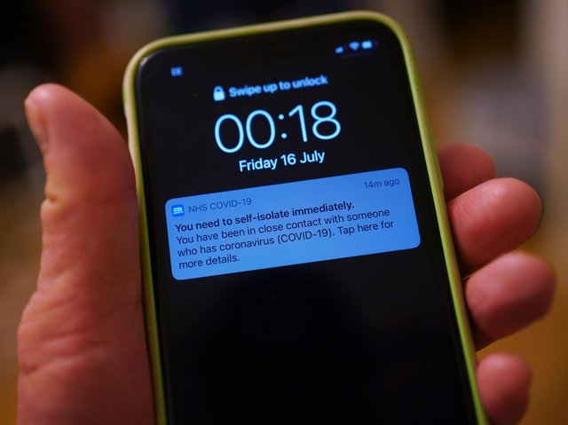 A notification issued by the NHS coronavirus contact tracing app