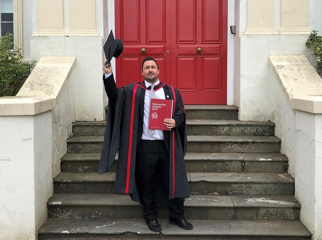 John Caven graduates from University of South Wales after having tried to take his life last year - he is now looking to become a full-time professional football coach