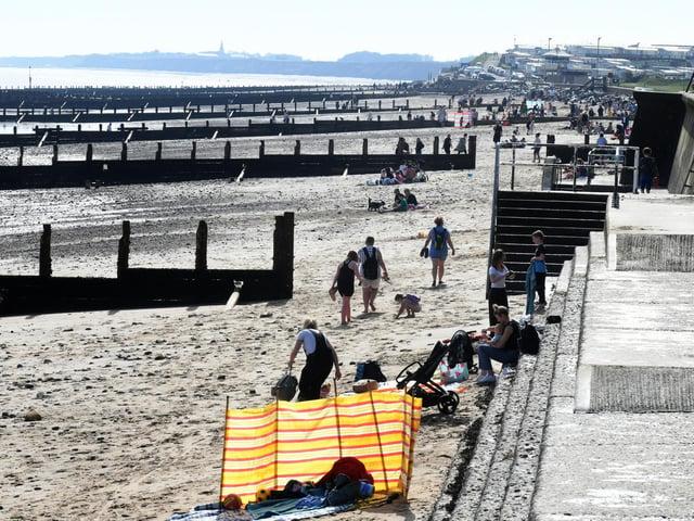 Groynes on the beach at Hornsea