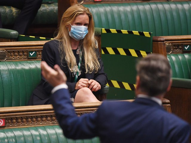 Kim Leadbeater sitting in the seat previously used by her sister, the murdered MP Jo Cox, during Prime Minister's Questions in the House of Commons, London. Picture: UK Parliament/Jessica Taylor /PA Wire
