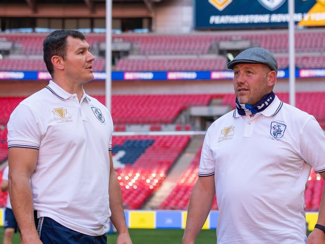 Featherstone Rovers' Brett Ferres, left, and assistant coach Paul March take a look around Wembley today. (ALLAN MCKENZIE/WPIX)