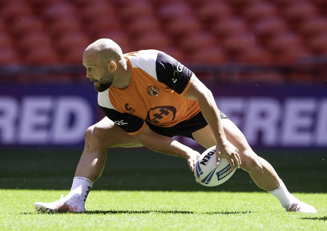 Pitching in: Castleford hooker Paul McShane gets feel for the Wembley pitch at yesterday's captain's run ahead of the Challenge Cup final. Picture by Allan McKenzie/SWpix.com