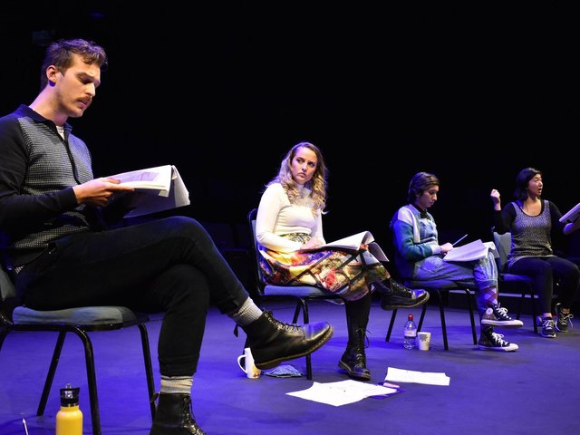 Actors performing a rehearsed play reading at the Stephen Joseph Theatre.