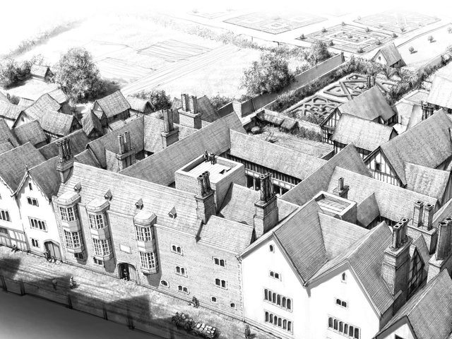 An artist's impression of Thomas Cromwell's London mansion (Pic: PA/University of Exeter)