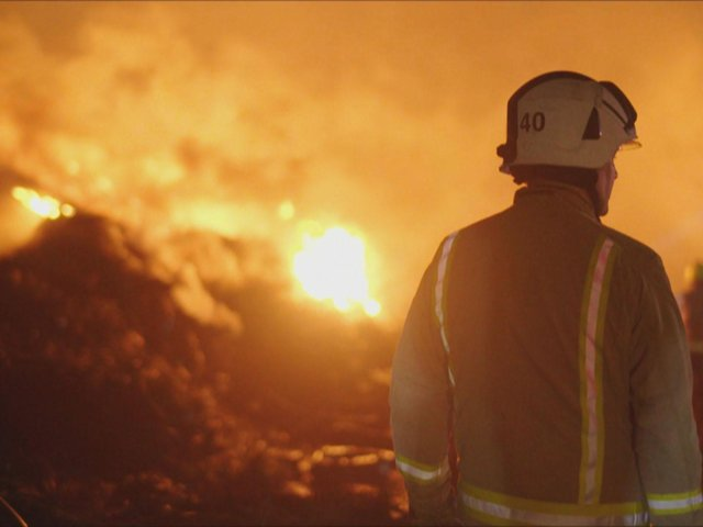 West Yorkshire Fire and Rescue Service at the tyre fire in Bradford last year.