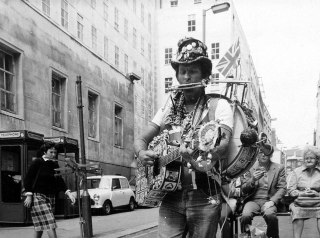 Shakey Jake, a Cockney busker with six puppets, performed on the streets of Leeds City Centre on June 19, 1983.