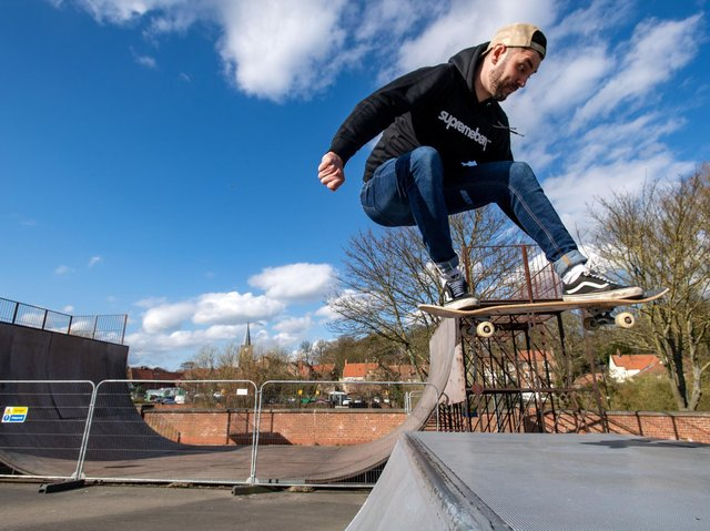 Campaigner Ryan Swain pictured at the skate park near Malton where the battle is ongoing to save a rare half pipe ramp