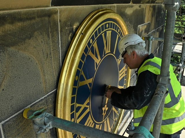 The two-faced clock on the North Quadrant of the house has been repaired free of charge by South Yorkshire based horologist Andrew Bates.