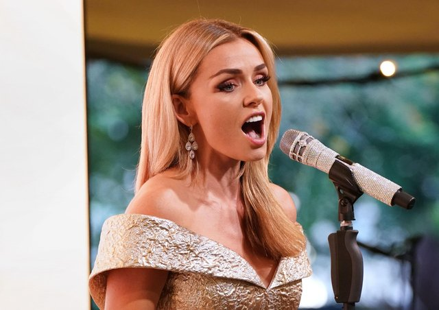 """Katherine Jenkins performs during the """"A Starry Night In The Nilgiri Hills"""" event hosted by the Elephant Family in partnership with the British Asian Trust at Lancaster House on July 14, 2021 in London, England.(Photo by Jonathan Brady - WPA Pool/Getty Images)"""
