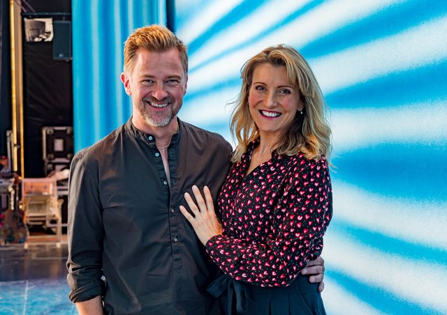 Richard Standing and Sara Poyzer who play Sam Carmighael and Donna Sheridan in Mamma Mia at Harewood House Picture Gavin Nugent