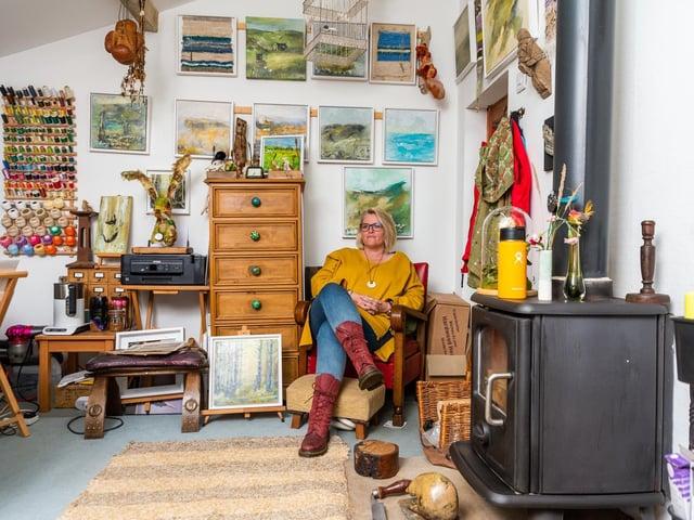 Artist Adele Froude in her Long Preston studio. (James Hardisty).