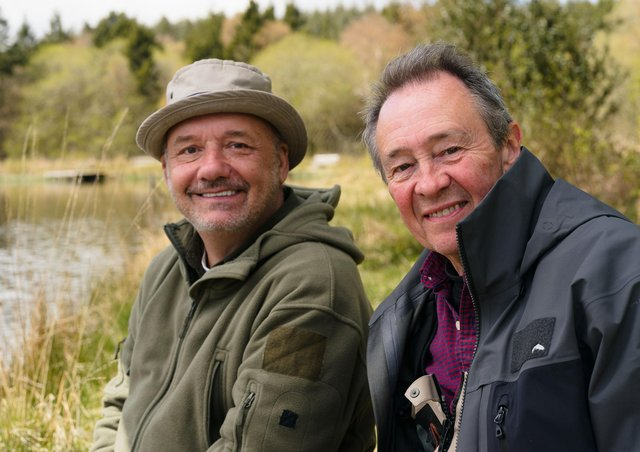 Bob Mortimer and  Paul Whitehouse return to BBC TWO With their series Gone Fishing  Picture: PA Photo/BBC/Owl Power/Sam Gibson.
