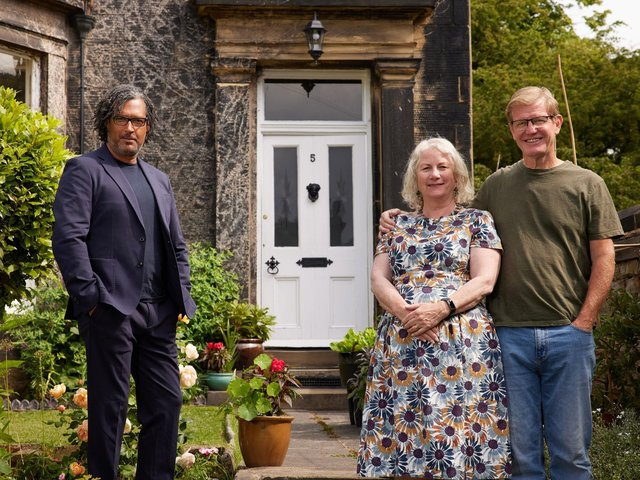 Pete and Jackie Slater outside 5 Grosvenor Mount with Dr David Olusoga