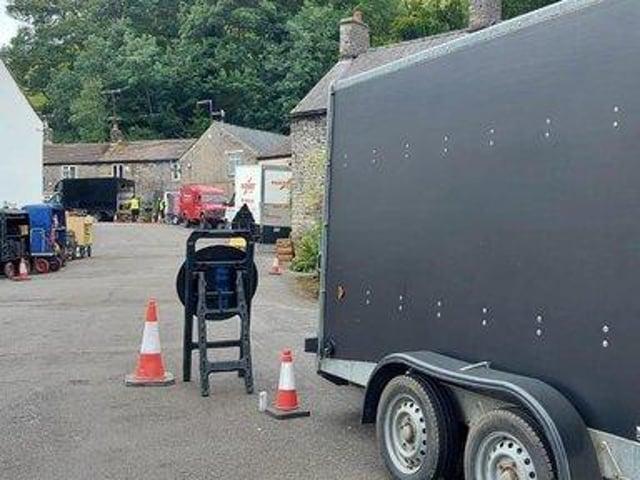 Film crews in Castleton.
