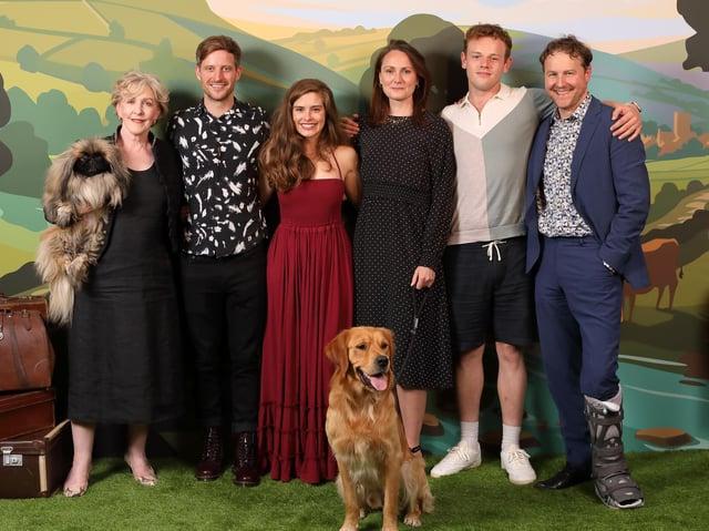 Sam West, far right, joined fellow stars Patricia Hodge, Tricki Woo, Nicholas Ralph, Rachel Shenton, Callum Woodhouse and Ernie the dog at the London screening.