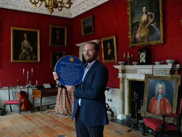 York Civic Trust blue plaque unveiling at Fairfax House, to JB Morrell, a visionary and major influencer on the cultural landscape of York in the 20th century. Great grandson James Morrell with the plaque in the Saloon of Fairfax house.. Picture : Jonathan Gawthorpe