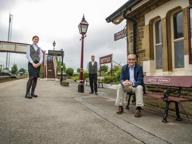 Director Adrian Quine with Staycation Express staff at Settle Station