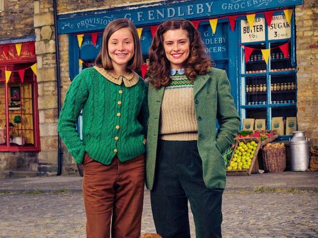Imogen Clawon, right, with Rachel Shenton on set in Grassington, which is dressed as Darrowby.
