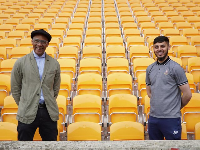 Jay Blades and Qasim at Bradford City in tonight's episode of Jay's Yorkshire Workshop.